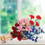 ferrero and orchids flower basket