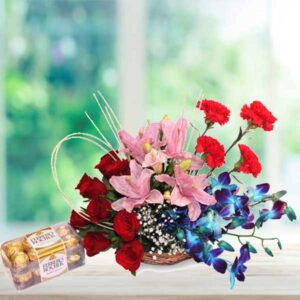 ferrero and orchids flower basket online delivery