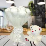 white carnations and teddy online delivery
