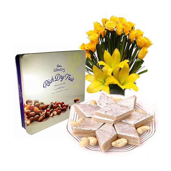 order flowers with kaju katli online