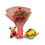 flowers teddy and cake online delivery