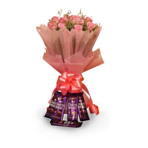 order pink roses with chocolates online