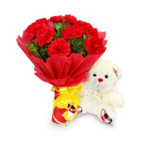 red carnations and teddy online delivery