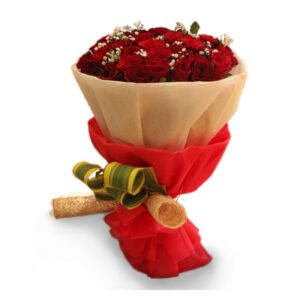 Online delivery of red rose bouquet