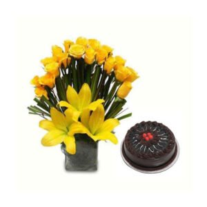 order yellow roses and chocolate cake online