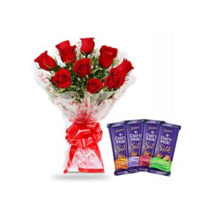 order roses and dairy milk silk chocolate online