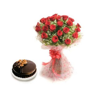 buy red roses and chocolate cake online