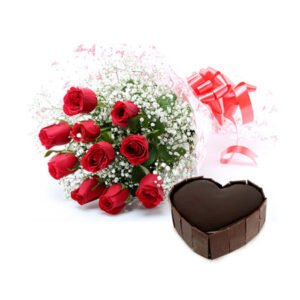 roses and heart shape cake online delivery