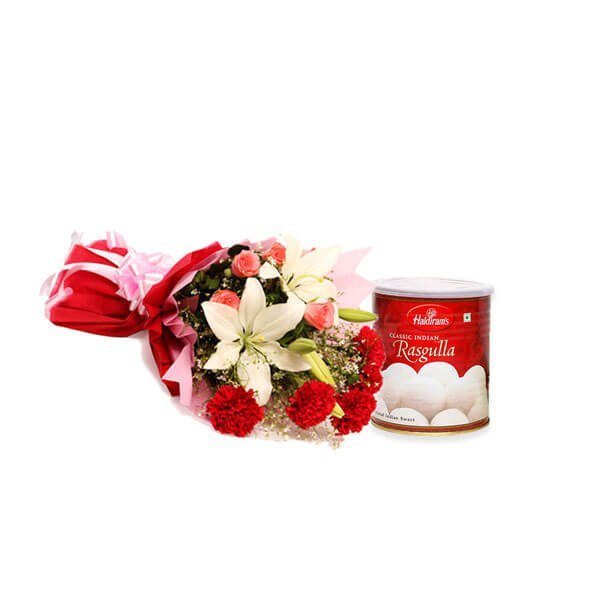 send flowers with rasgulla online