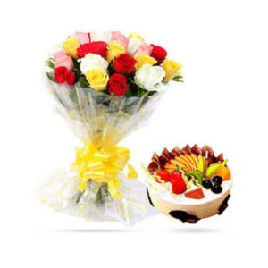 order Mix Roses n Fruit Cake online