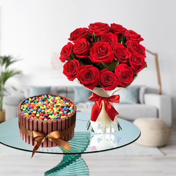 send roses and kitkat cake online