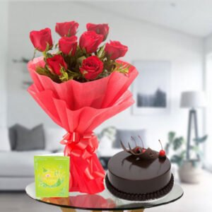 red roses and chocolate cake online delivery