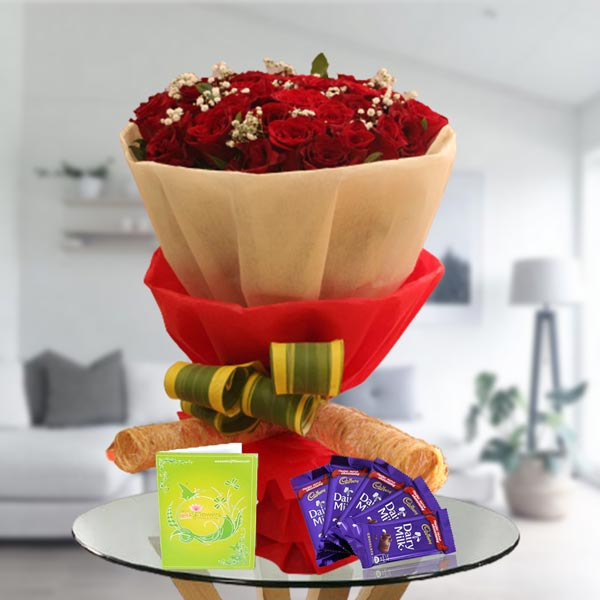 roses and dairy milk chocolates