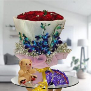 roses, orchids, chocolates, teddy
