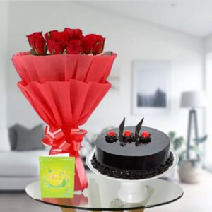 order chocolate cake and roses online