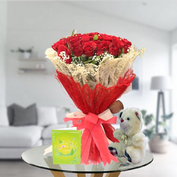 rose bouquet and teddy