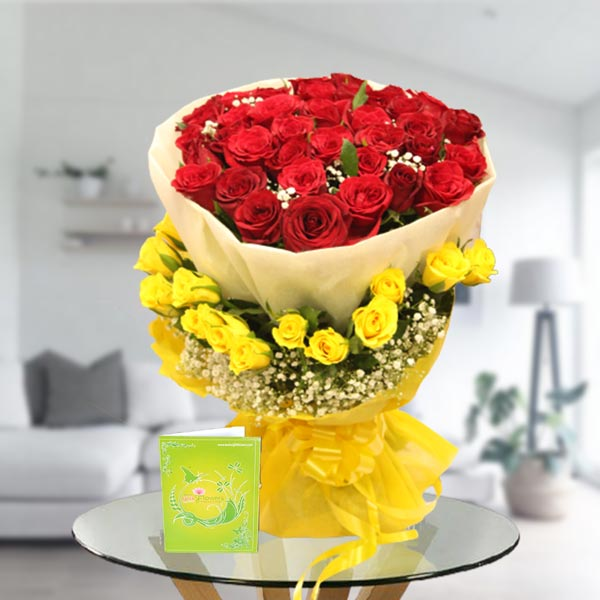 red and yellow rose bouquet