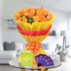orange rose bouquet n chocolates