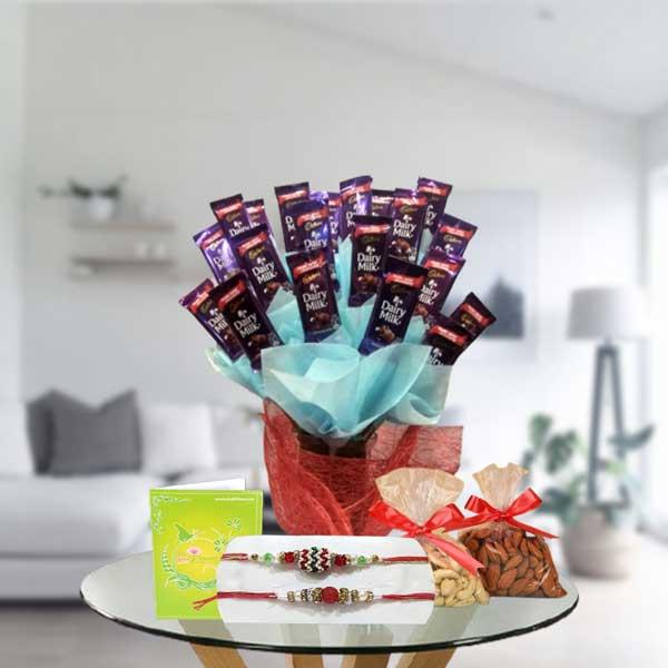 rakhi dry fruits dairy milk chocolates