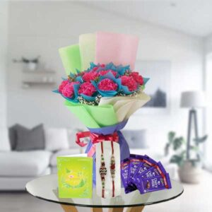 rakhi carnations and dairy milk chocolates