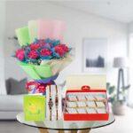 carnations kaju katli rakhi