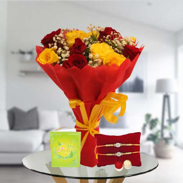 pearl rakhi and mix roses