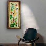 bird of paradise glass painting
