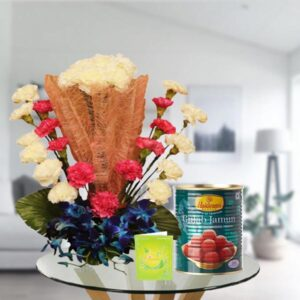 mix flowers bouquet and gulab jamun