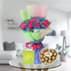carnations and heart shape ferrero box