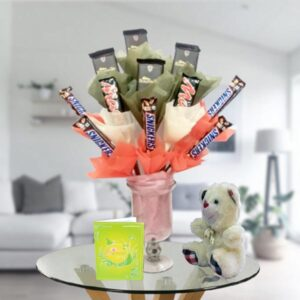 chocolates in a vase and teddy