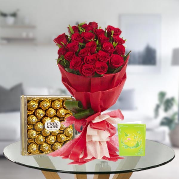 red rose bouquet and ferrero rocher