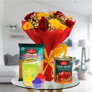 flowers bhujiya gulab jamun gulaal