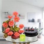 pink gerbera bouquet and chocolate cake
