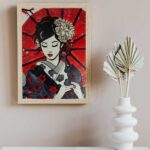 Japanese lady glass painting