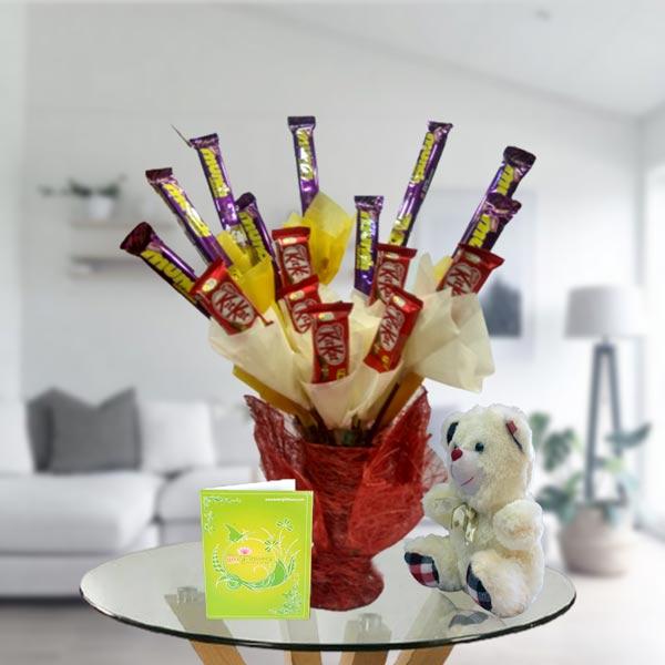 mix chocolate bouquet arrangement and teddy