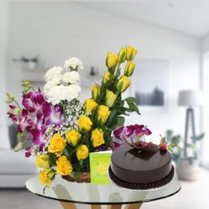 mix flower basket and chocolate cake