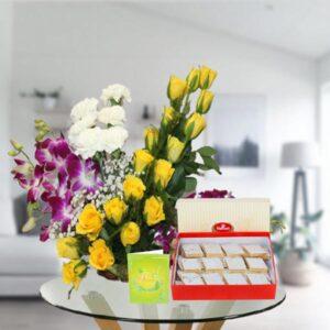mix flower basket and kaju katli