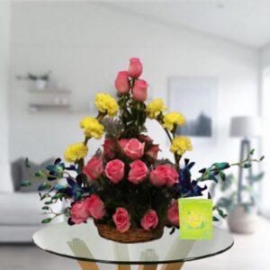 mix flowers basket