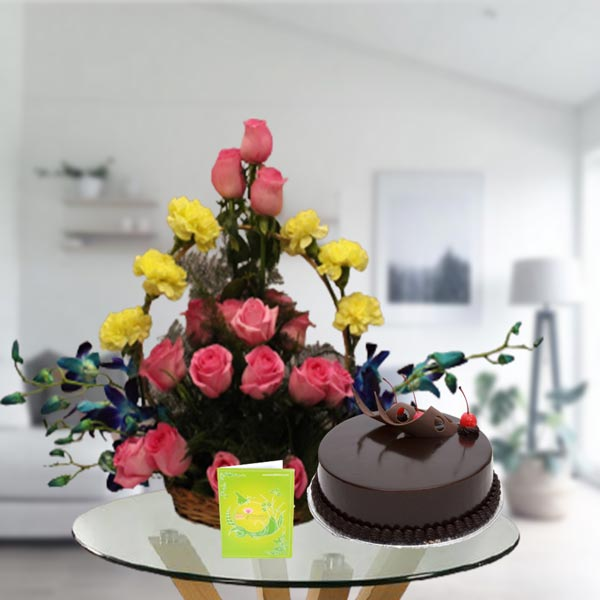 mix flowers basket and chocolate cake