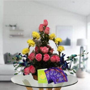 mix flowers basket and dairy milk chocolates