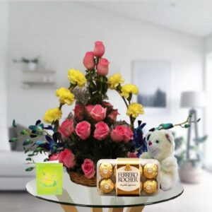 mix flowers basket teddy and ferrero rocher