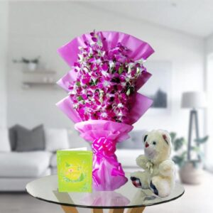 purple orchids and teddy