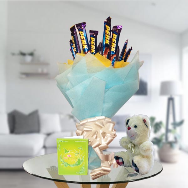 perk chocolate bouquet and teddy