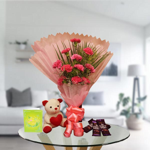 pink carnations teddy chocolates