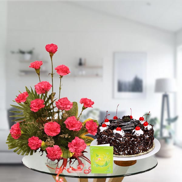 Pink Carnations bouquet arrangement and black forest cake