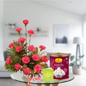 pink carnations and rasgulla