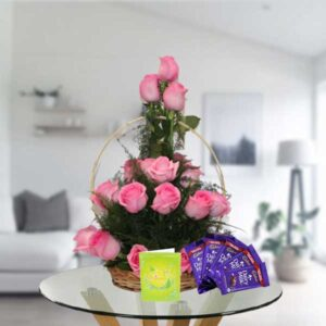 pink roses basket and chocolates