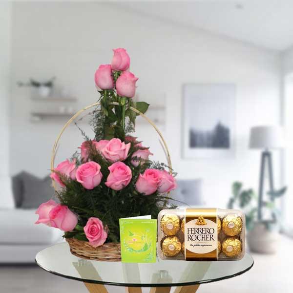 pink rose basket with ferrero rocher