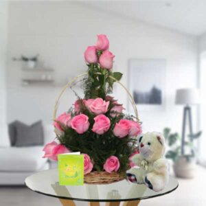 pink roses basket and teddy