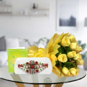 yellow roses and rakhi